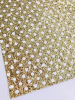 Gold Polka Dot Glitter with White Dot Fabric Sheet - Gold with White Spots