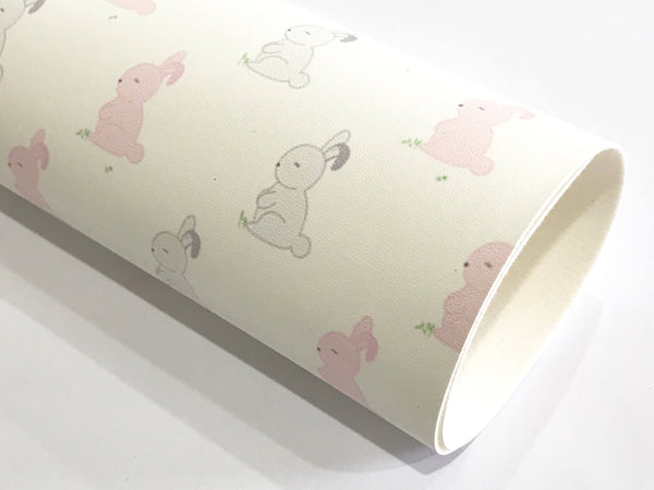 Grey Pink Easter Bunny Faux Leatherette