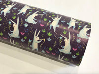 Navy Bunny Faux Leatherette Sheet