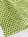 Lime Green and Gold Dots Leatherette Sheet Thin 0.7mm A5 A4 Size Faux Leather Fabric  Embossed Gold Dot PU Leather Thin Leatherette