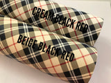 Cream Black Burgundy Red Tartan Leatherette Sheet 0.8mm Thickness A4 Size Faux Leather Fabric