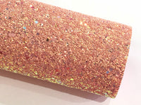 Rosey Peach Magic Glitter Fabric Chunky A4 Sheet - Limited Edition