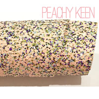 Peachy Keen Chunky Hexagonal Glitter Fabric