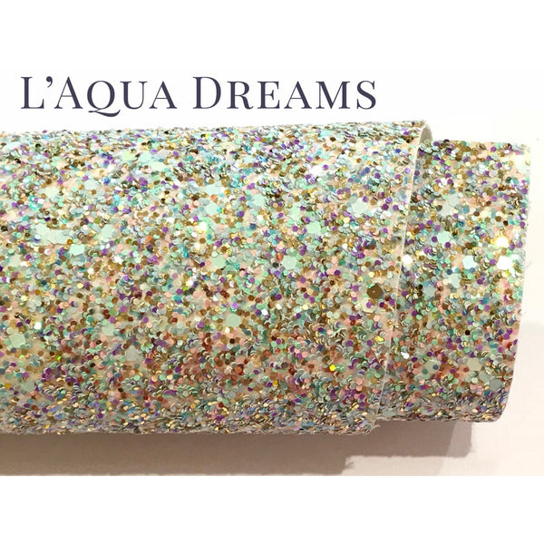 L'Aqua Dreams Multicolour Chunky Glitter Fabric Sheet Thick A4 Sheet