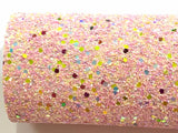 Strawberry Sundae Multicolour Chunky Glitter Fabric Sheet Thick A4 Sheet