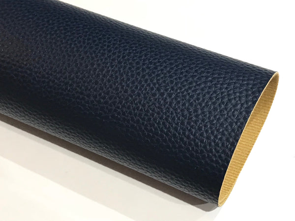 French Navy Blue 1.0mm Litchi Print Leatherette