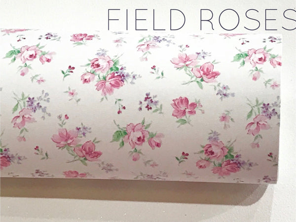 Pink Field Roses Soft Leatherette Floral PU Leather A4 Sheet 210 x 297mm Floral Leather Bows Floral Leather Headbands
