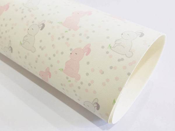 Grey Pink White Easter Bunny Polka Dot Faux Leatherette