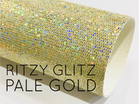 Ritzy Glitz Pale Gold Sparkle Glitter Fabric A4 Sheet