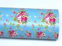 Floral Roses in Aqua Soft Leatherette Floral PU Leather A4 Sheet