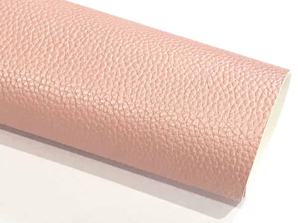 Pale Pink Pearl Leatherette 1.2mm Thickness Lychee Print Soft Pink Faux Leather Fabric Sheets