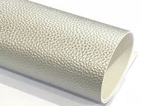 Pearl Silver Leatherette 1.2mm Thickness Lychee Print Silver Faux Leather Fabric Sheets