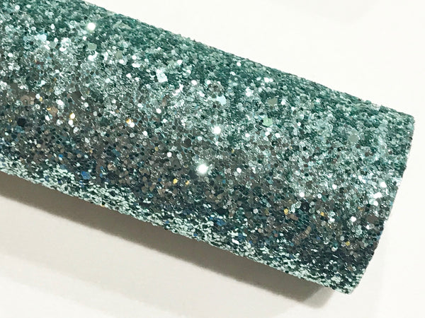 Teal Green Chunky Glitter Fabric Sheet Fabric