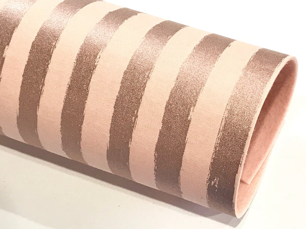 Blush Rose Gold Stripes Double Sided Fabric Sheets- Blush