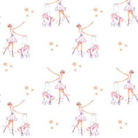 Ballerina with Unicorn Puppet Felt Backed Fabric Sheets