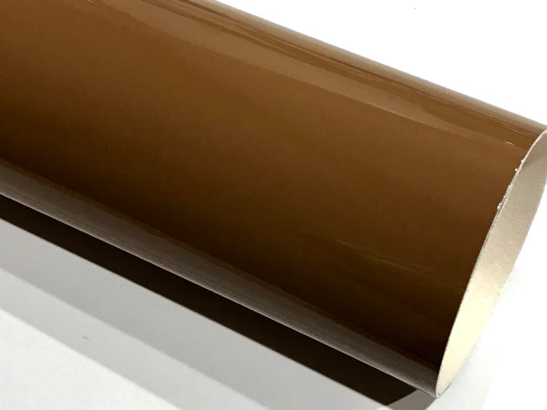 Chocolate Brown Patent Leather A4 Sheet Glossy Smooth PU Leatherette