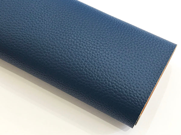 Navy Leatherette Sheet A4 or A5 Size Thick 1.0mm Litchi Print Leatherette - Navy Blue