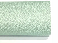 Pearl Sage Green Leatherette 1.2mm Thickness Lychee Print Green Faux Leather Fabric Sheets