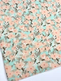 Peach Aqua Bloom Floral Felt Backed Fabric Sheets