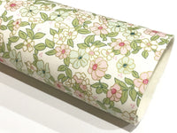 Mint and Pink with Gold Metallic Floral Felt Backed Fabric Sheets