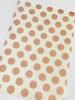 Blush Rose Gold Dots Double Sided Fabric Sheets - White