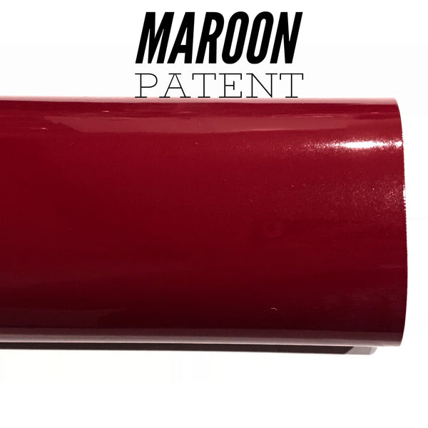Marone Burgundy Patent Leather A4 Sheet Glossy Smooth PU Leatherette maroon