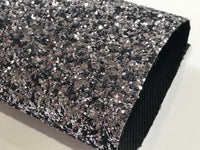 Gunmetal Grey Black Backed Chunky Premium Glitter Canvas Sheet 0.9mm Thick A4 Size