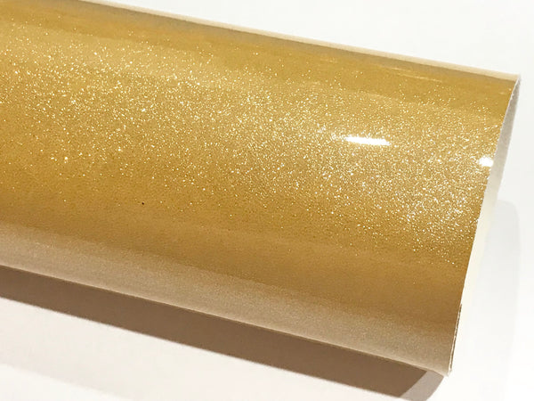 Gold Glitter Patent Leather A4 Sheet Mirror Smooth Glitter PU Leatherette