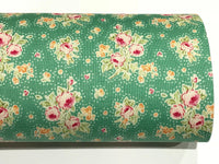 Green and Pink Floral Felt Backed Fabric Sheets
