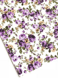 Purple White Floral Leatherette | A4 Sheet | 1.0mm Thick