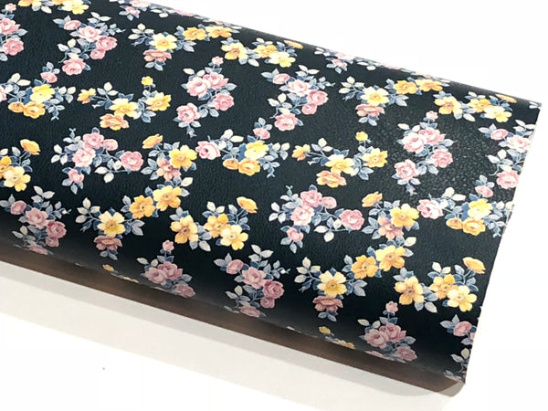 Petite Dainty Floral Smooth Leatherette -| Navy | A4 Sheet