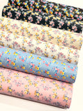 Petite Dainty Floral Smooth Leatherette -| Pink | A4 Sheet