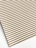 Taupe and White Stripe Leatherette Sheet Stiffer 0.8mm Thickness A5 A4 Size Faux Leather Fabric