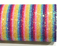 Rainbow Stripe Stripe Glitter Fabric Sheet Thick Striped Chunky Glitter A4 Sheet
