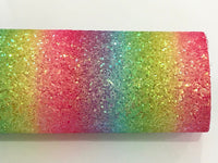 Bright Rainbow Chunky Frosted Glitter Fabric