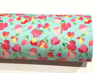 Aqua Pink Tulips Floral Double Sided Cotton Fabric Felt