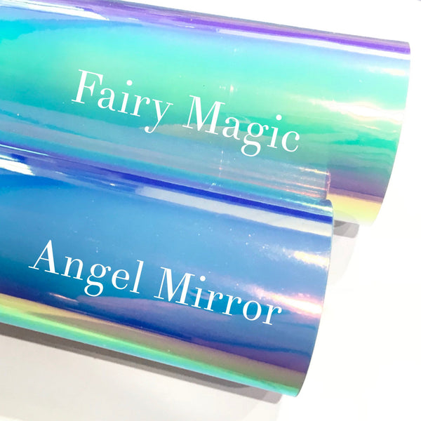 Holographic Angel and Fairy Mirror Patent Leatherette 1.2mm Holographic Glossy Leather