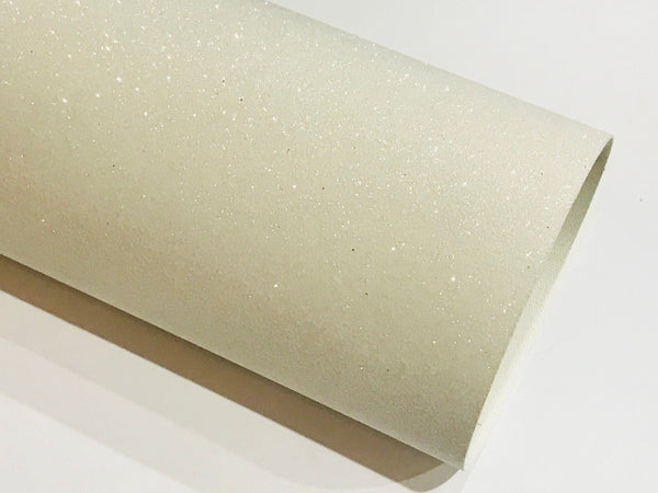 Snow White Fine Glitter Fabric Sheet Thin 0.6mm A4 or A5