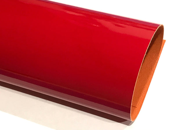 Orange Red Patent Leather A4 Sheet Glossy Smooth PU Leatherette