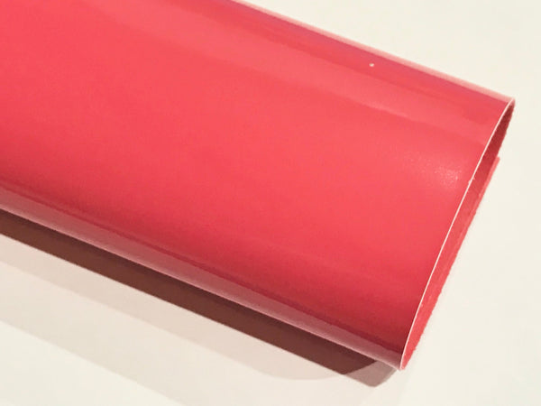 Coral Pink Patent Leather A4 Sheet Glossy Smooth PU Leatherette
