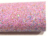 Pink Purple Aqua Gold Multicolour Chunky Glitter Fabric