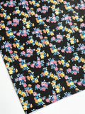 Petite Dainty Floral Smooth Leatherette | Black | A4 Sheet