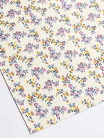 Petite Dainty Floral Smooth Leatherette -| Ivory Cream | A4 Sheet