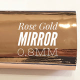 Rose Gold Mirrored Leatherette 0.8mm Thickness Mirror Rose Gold Glossy Leather