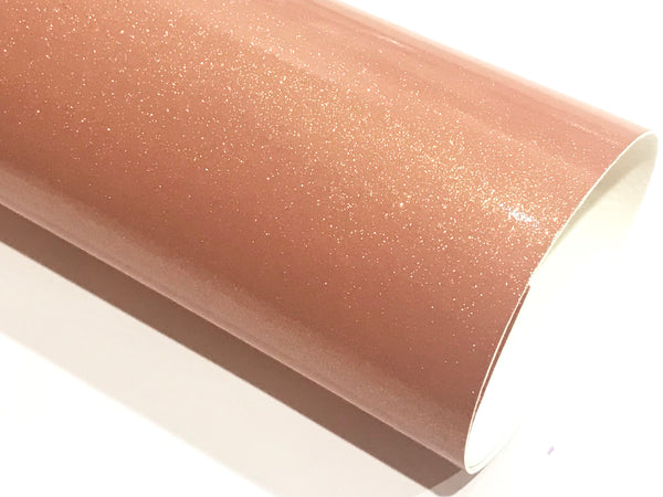 Coral Shimmer Glitter Patent Leather A4 Sheet Mirror Smooth Glitter PU Leatherette