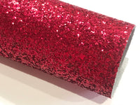 Ruby Red Glitter Fabric Sheet 0.9mm -1.0mm Thick A4 or A5 Sheets Chunky Red Glitter Chunky A4 A5 Sheets