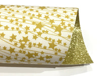 NEW Starbright Michael Miller White and Gold Stars Double Sided Glitter Fabric