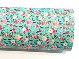 Aqua Floral Unicorn PU Leather Fabric Sheets  A4