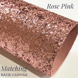 Rose Pink Matching Back Chunky Glitter Canvas Sheet 0.9mm mA4 or A5 - Rose Pink Gold