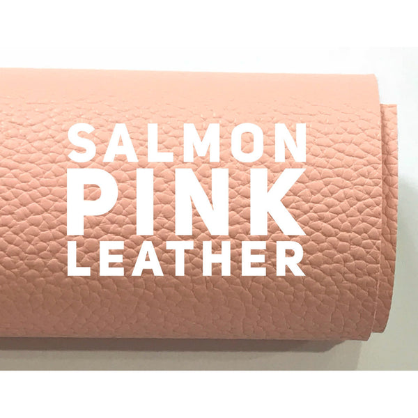 Salmon Pink Leatherette Sheet A4 8X11 or A5 Size Pink Faux Leather Fabric Pink PU Leather Thick 1.2mm Litchi Print Leatherette